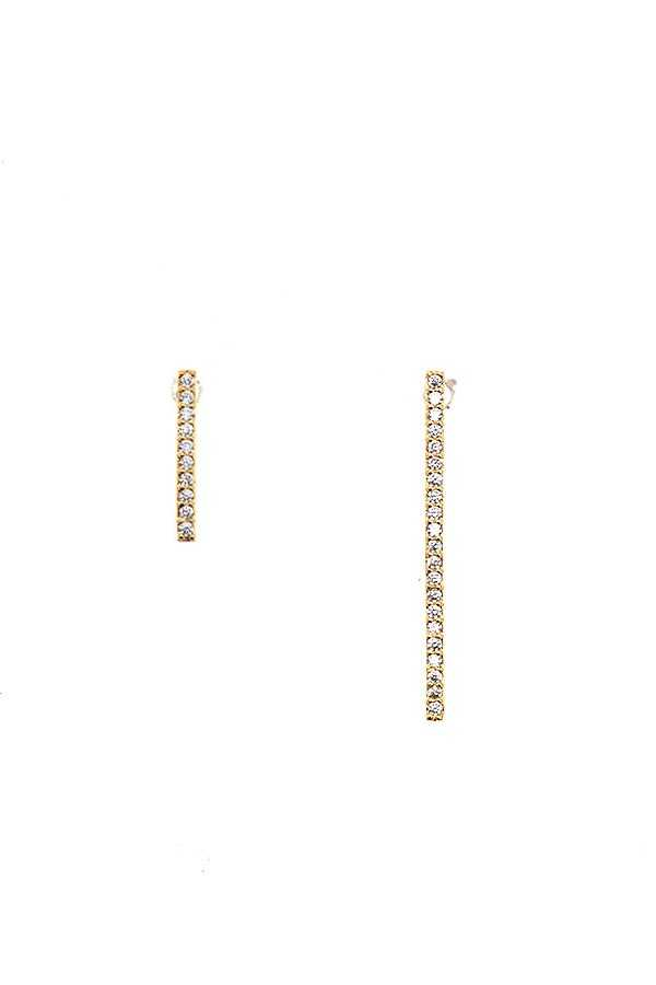 CZ PAVE BAR POST EARRING