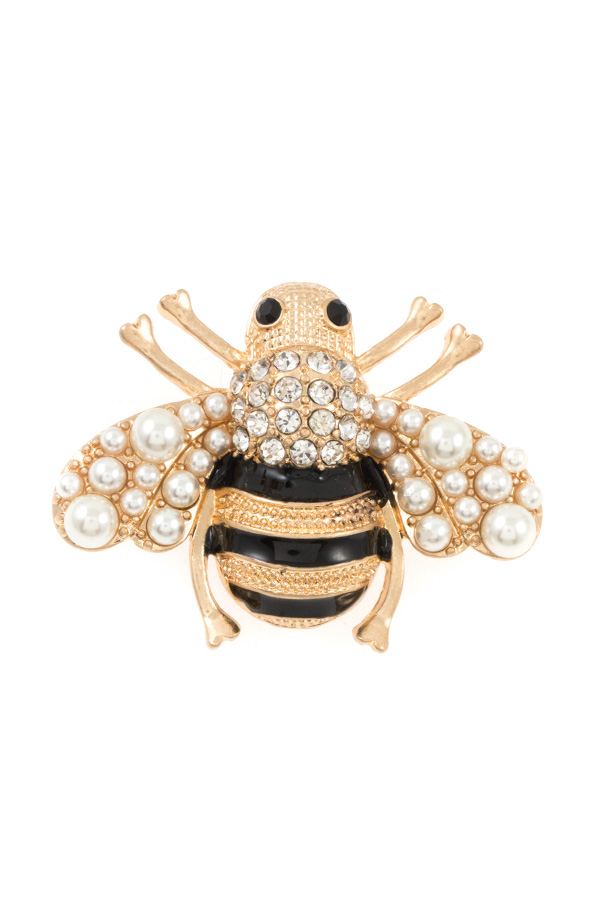 PEARL AND GEM BEE ACCENT BROOCH