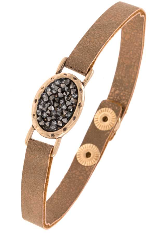Oval Cracked Stone Faux Leather Bracelet