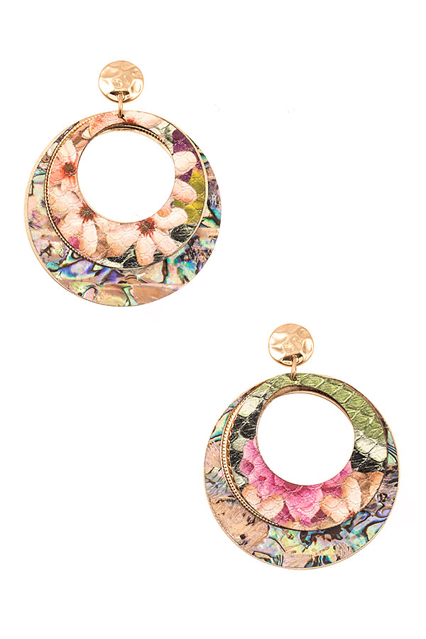 ROUND FLORAL PRINT DOUBLE DANGLE EARRING