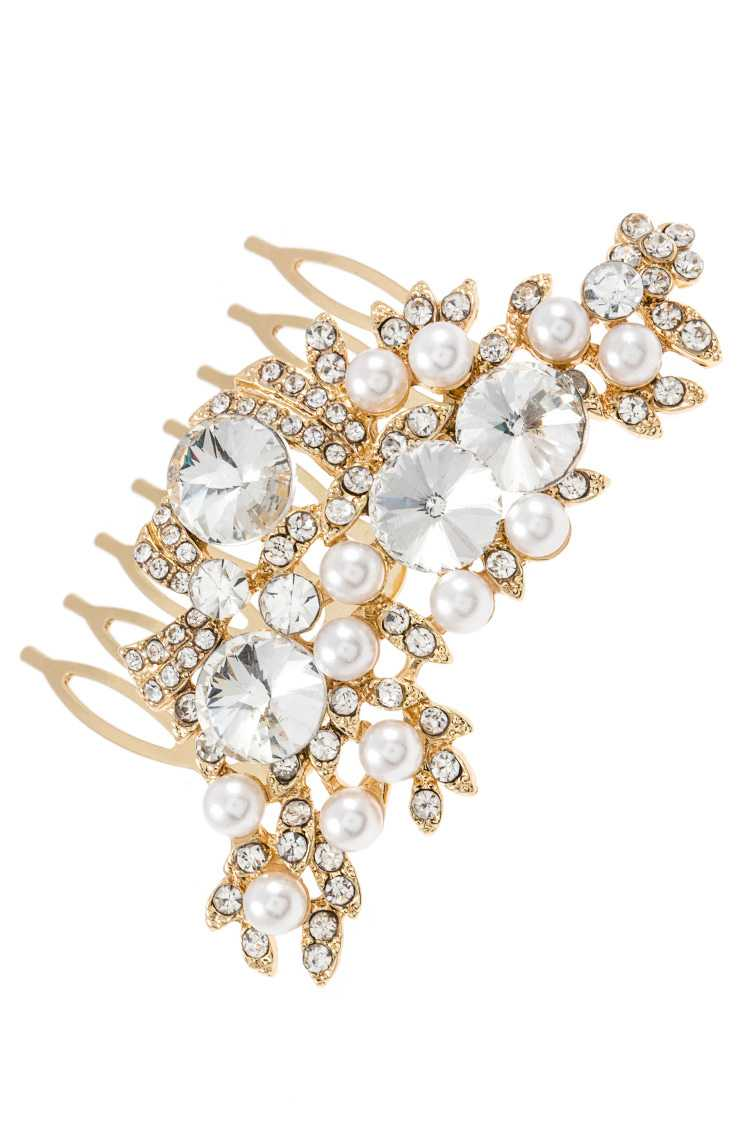 Crystal and Faux Pearl Accent Mini Hair Comb Insert