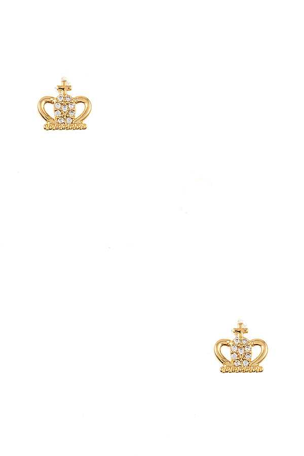 CZ STONE PAVE CROWN POST EARRING
