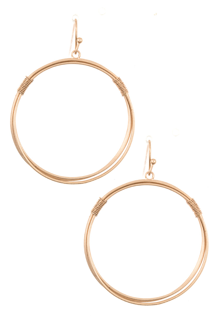 Round Wire Accent Hoop Earring
