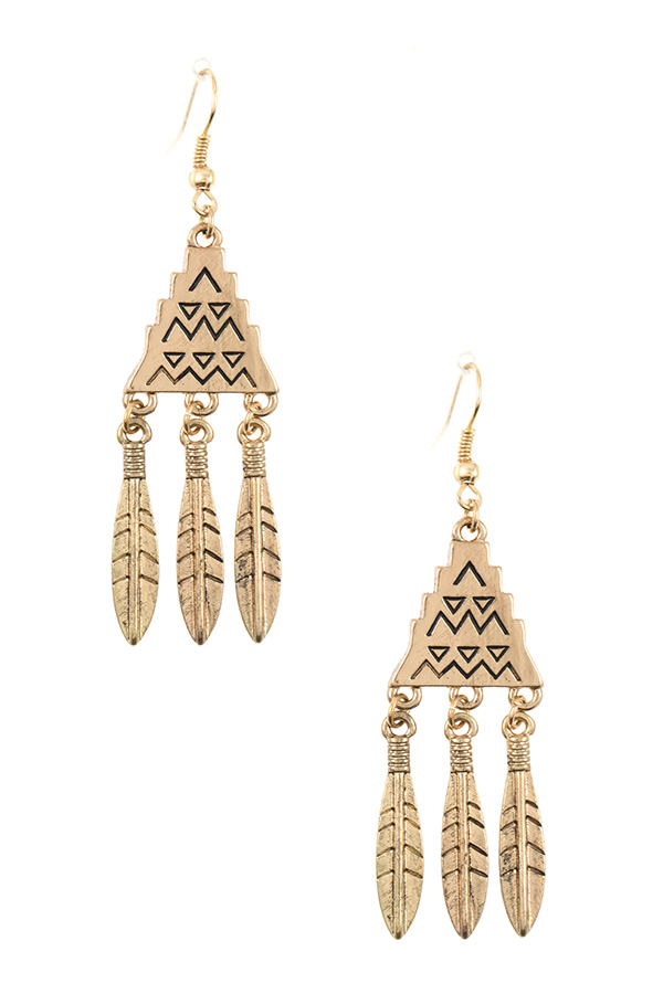 TRIBAL ETCHED FEATHER DANGLE EARRING