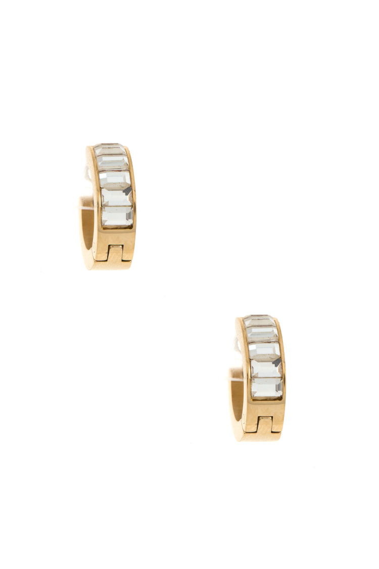 Aligned Gem Mini Hoop Earring