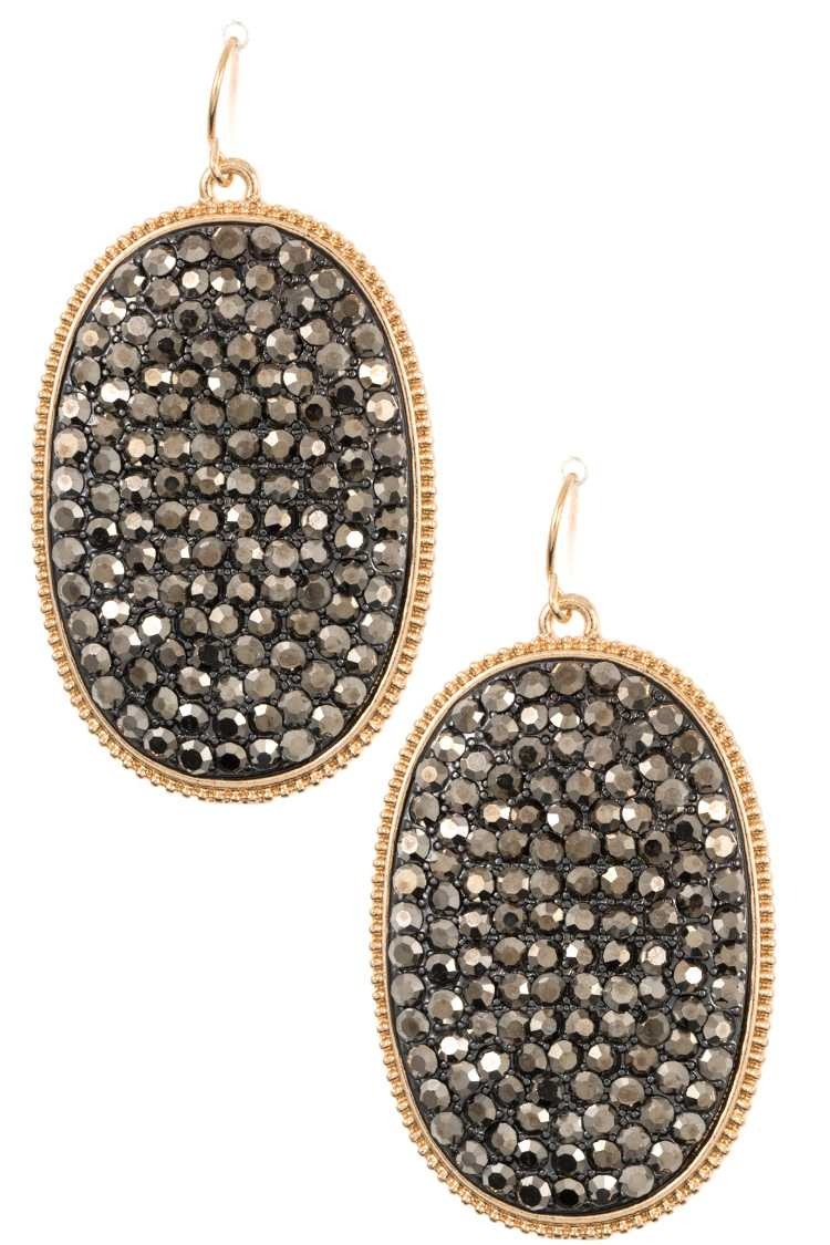 Oval Rhinestone Pave Dangle Earring
