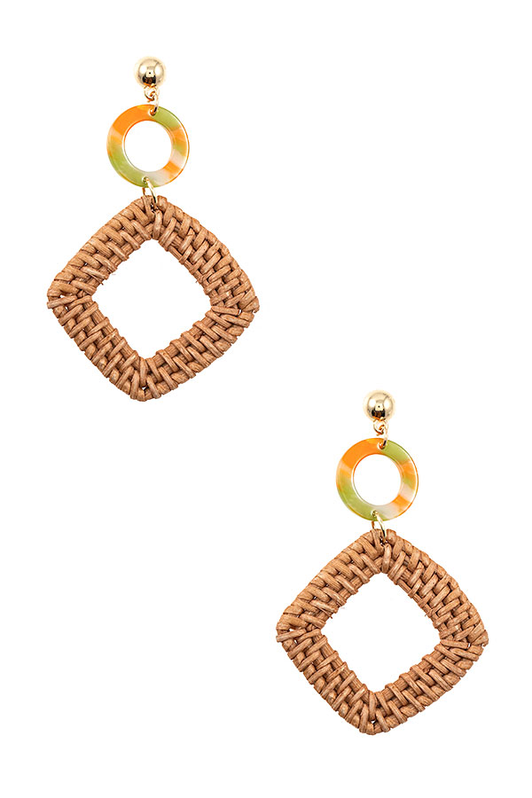 SQUARE WOVEN ACETATE LINK DANGLE EARRING
