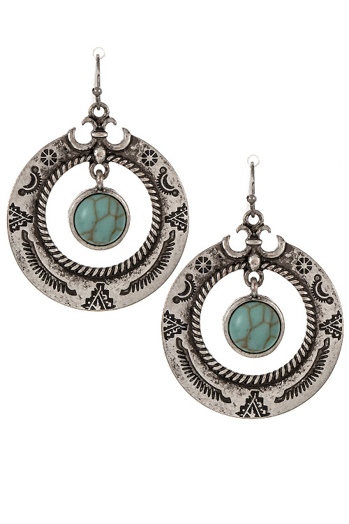Tribal Vintage Framed Gem Dangle Earring