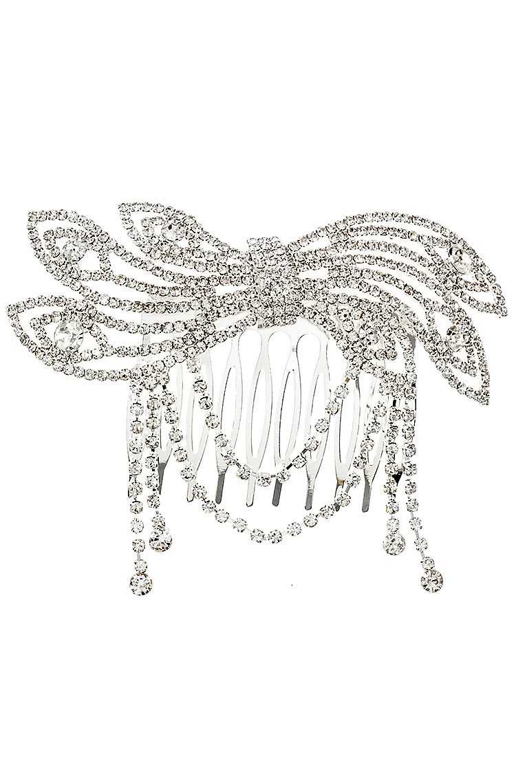 Rhinestone Pave Draped Chain Hair Comb Insert