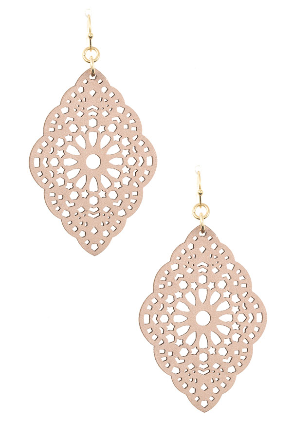 FAUX LEATHER DETAILED CUT EARRING
