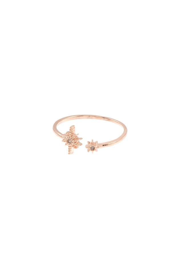 DOUBLE CZ STONE STAR TIP CUFF BRASS RING