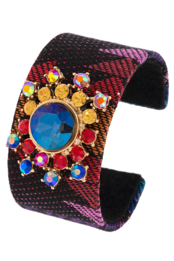 Pattern Fabric Crystal Gem Floral Accent Cuff Bracelet