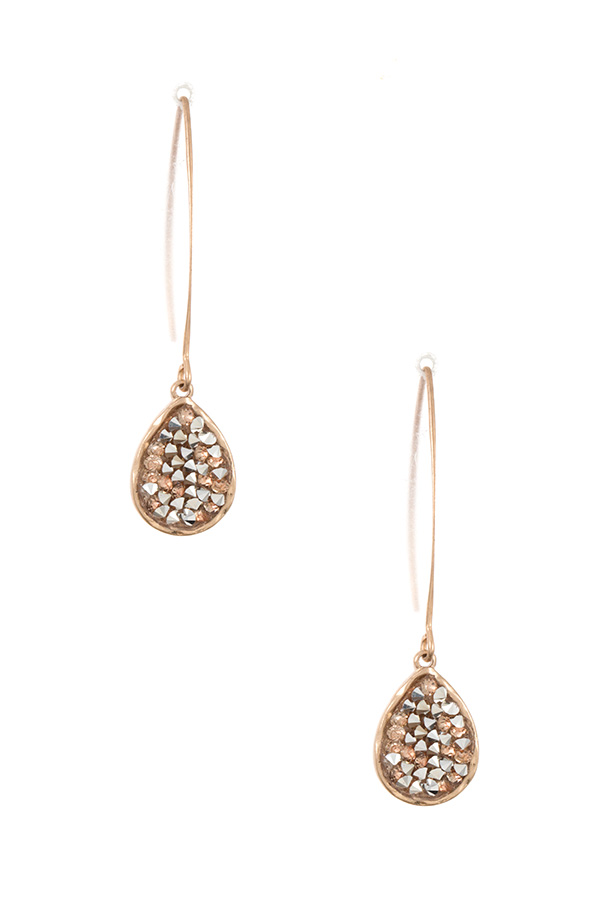 TEARDROP GEM ACCENT WIRE DANGLE EARRING