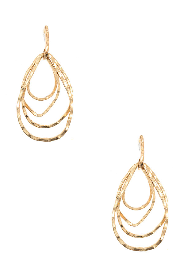 MULTI HAMMERED TEARDROP DANGLE EARRING