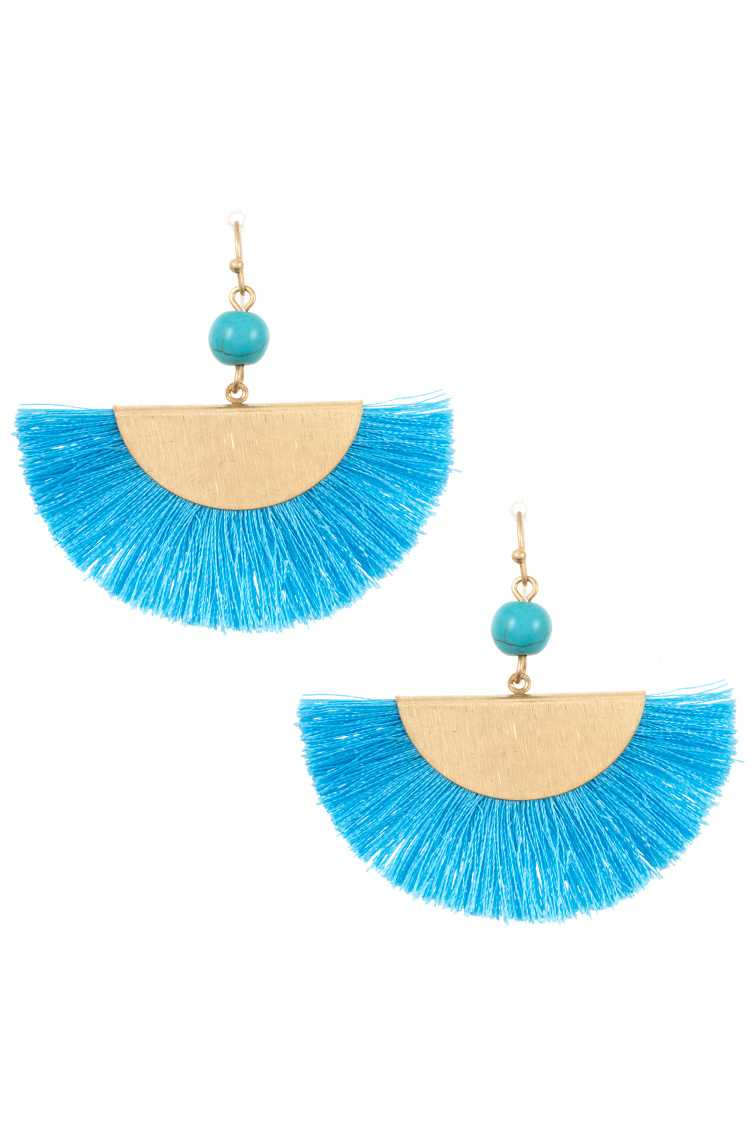 Gem Link Fan Tassel Earring