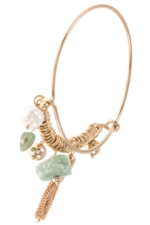 Natural Stone Multi Dangle Charm Accent Wire Bangle Bracelet