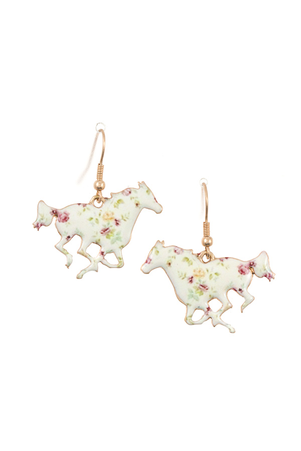 FLORAL HORSE DANGLE EARRING