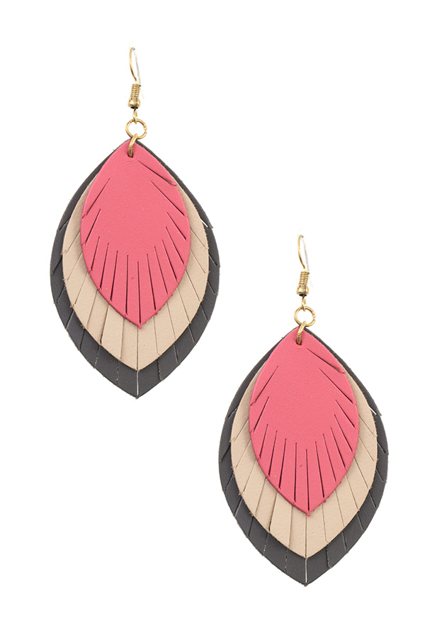 TRIPLE LINK MARQUISE CUT GENUINE LEATHER DANGLE EARRING