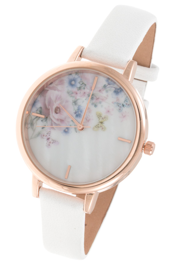 FLORAL TEMPLATE FACE FAUX LEATHER WATCH