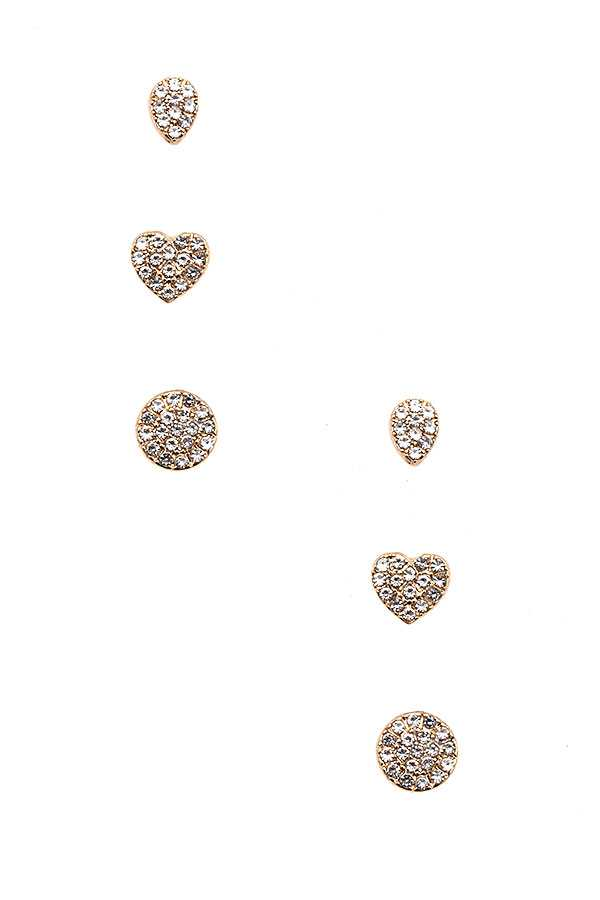 RHINESTONE PAVE HEART MIX POST EARRING