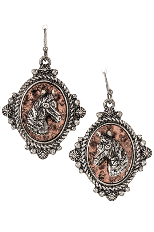 Horse Accent  Vintage Framed Dangle Earring