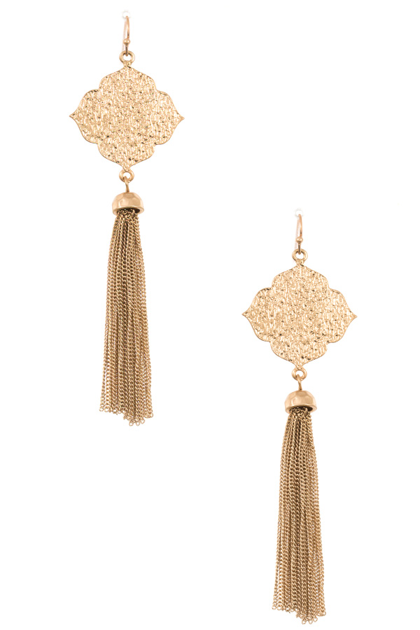 Detailed Moroccan Chain Tassel Dangle Earring