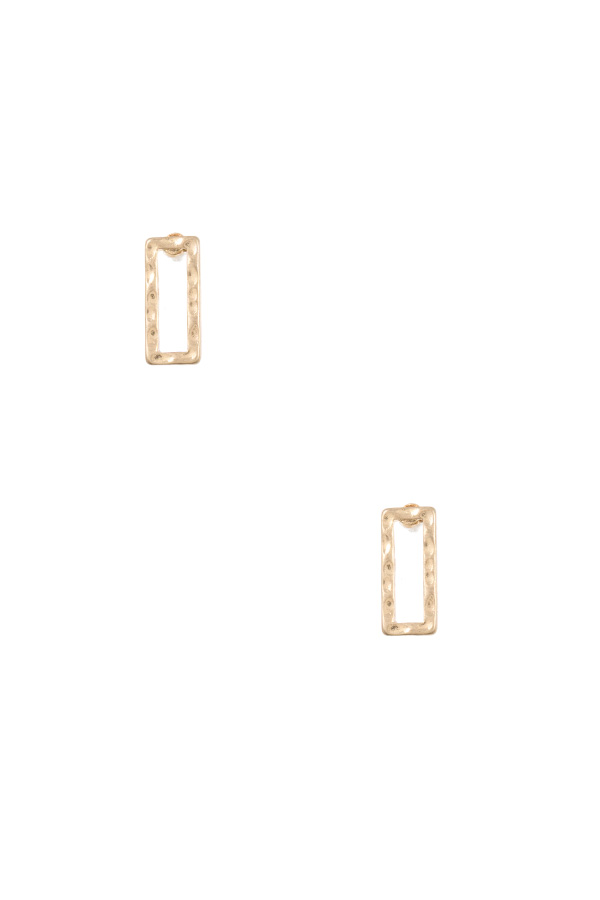 HAMMERED RECTANGLE PSOT EARRING