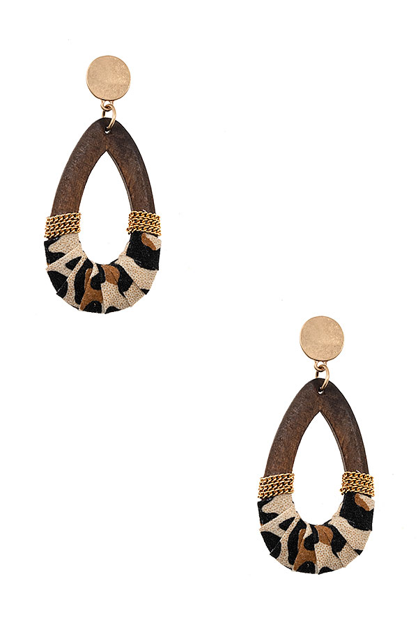 TEARDROP WOOD ANIMAL PATTERN ACCENT EARRING