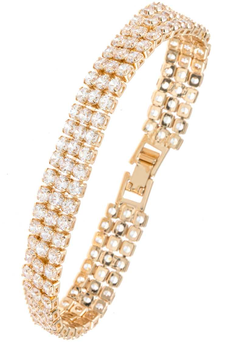 TRIPLE ROW CZ STONE ACCENT BRACELET