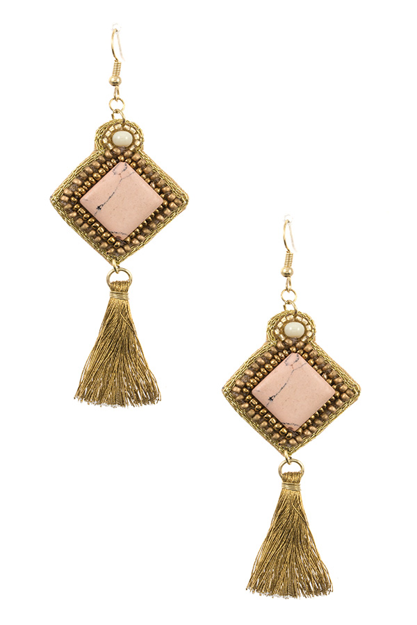 BEADED DIAMOND FRAMED GEM TASSEL DROP EARRING