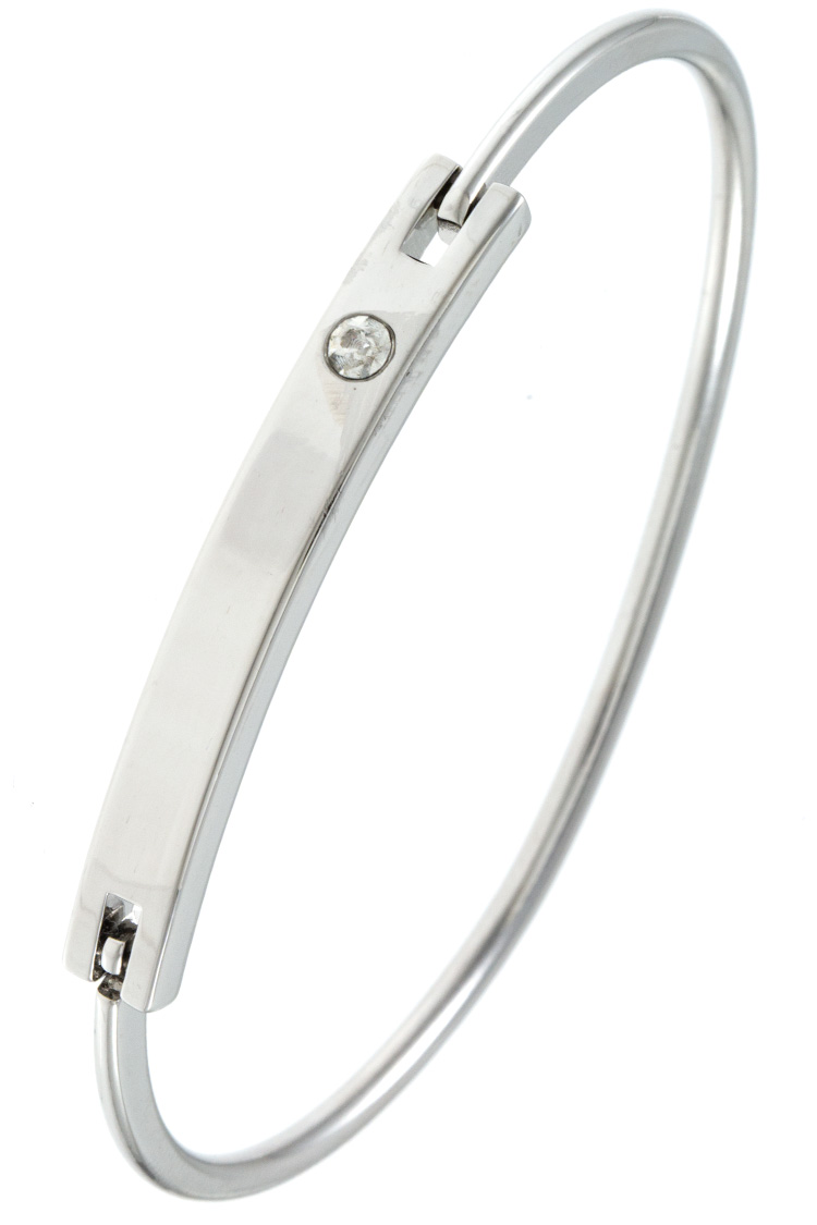 SINGLE STONE ACCENT BAR BANGLE BRACELET
