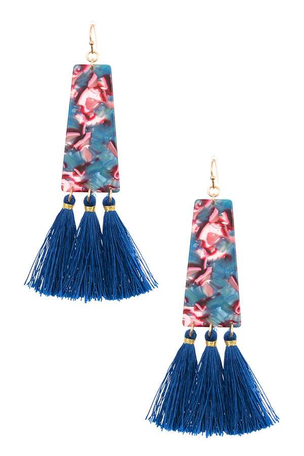 MARBLE LIKE MULTI TASSEL FASHION EARRING