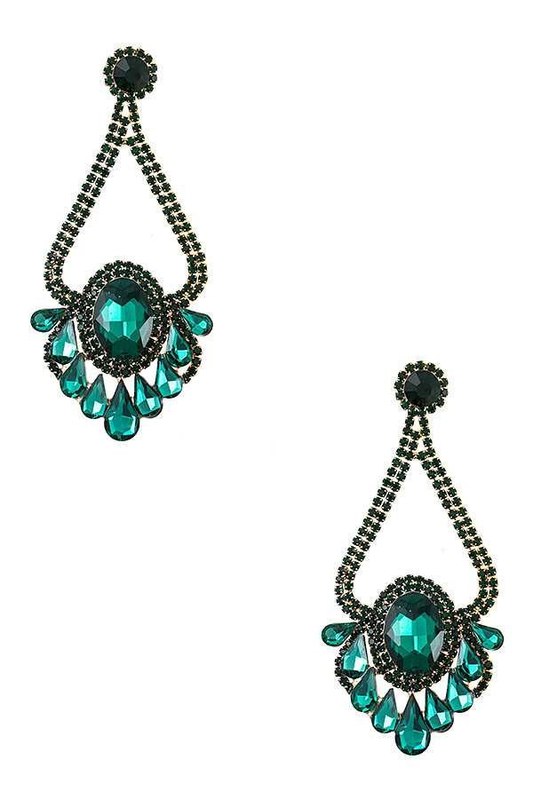 CRYSTAL AND RHINESTONE PAVE ORNATE EARRING