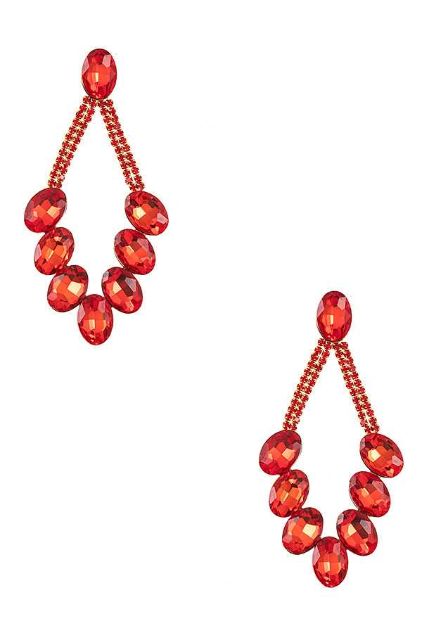 FACETD GEM PAVE DROP EARRING
