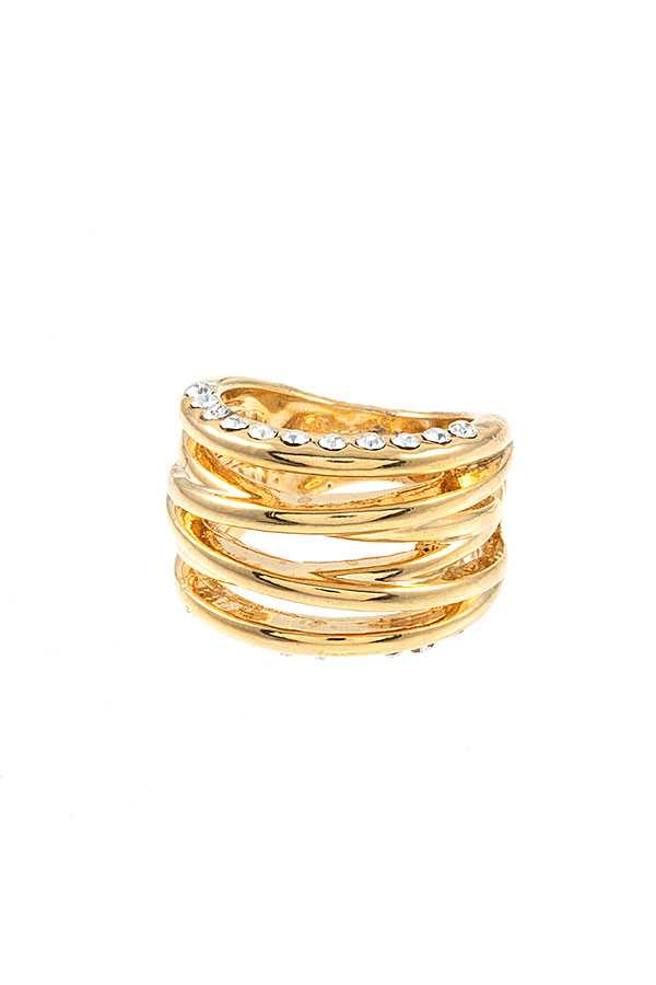 CROSED OVER MULTI ROW RING