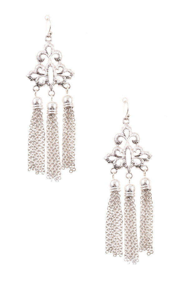 CUT OUT ORNATE CHAIN TASSEL DANGLE EARRING
