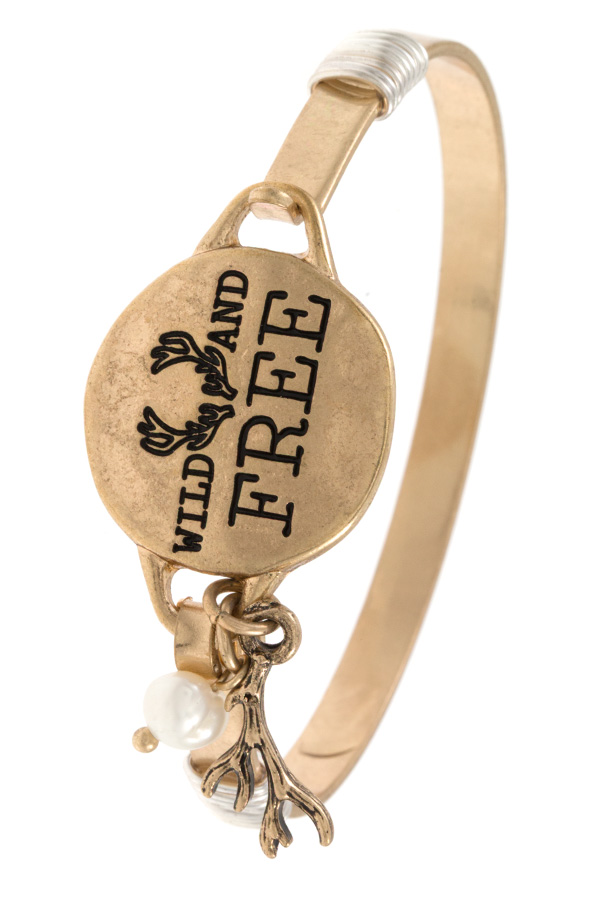 WILD AND FREE ANTLERS ETCHED DISK BANGLE BRACELET