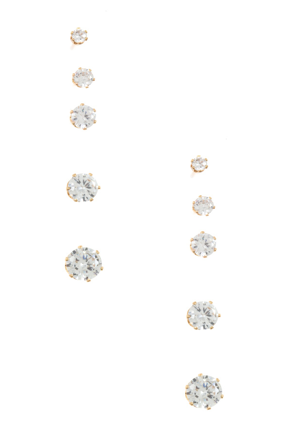 CZ STONE ROUND FRAMED POST EARRING SET