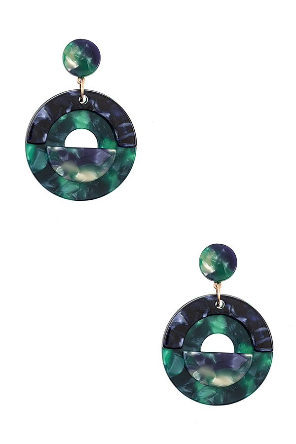 Round Acetate Drop Earring