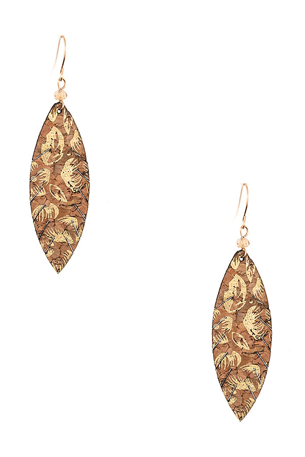 Leaf Cut Metallic Accent Earring
