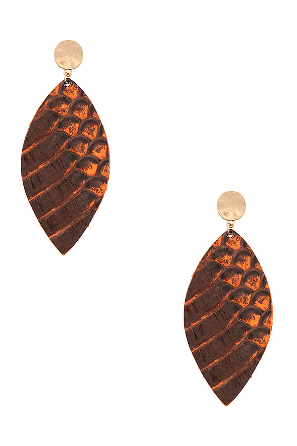 Genuine Leather Reptile Pattenr Earring