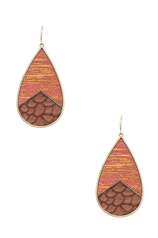 Genuine Leather Teardrop Earring