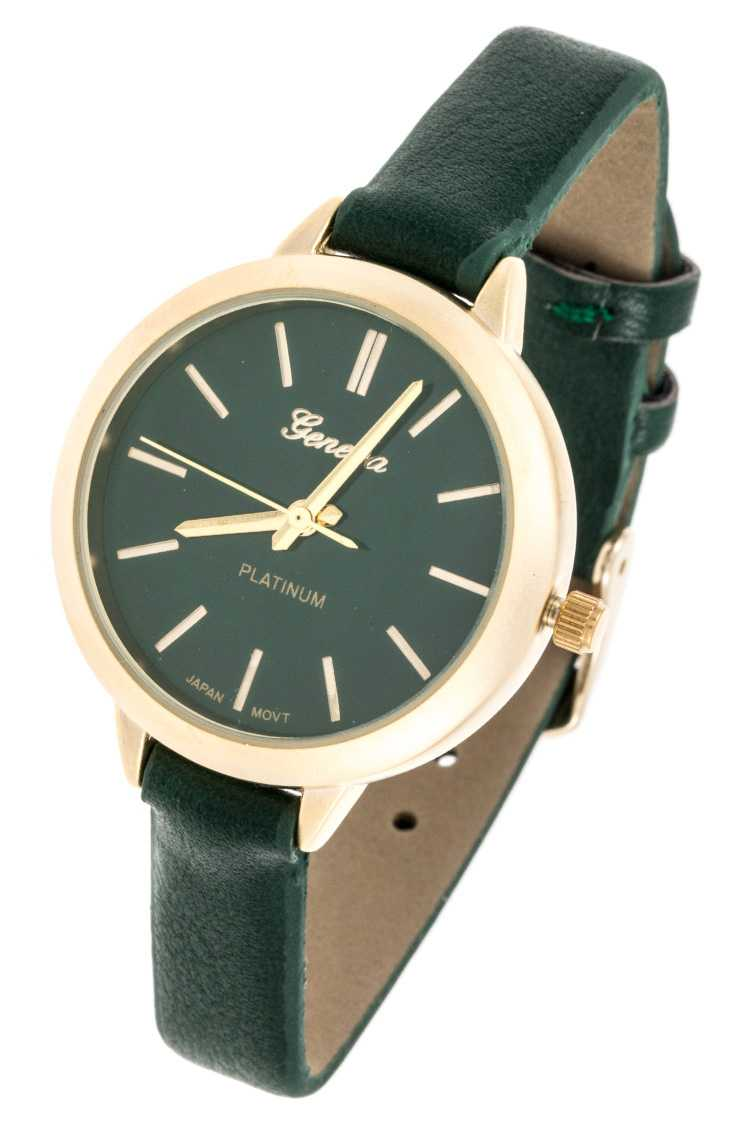 Faux Thin Leather Barn Round Simple Dial Watch