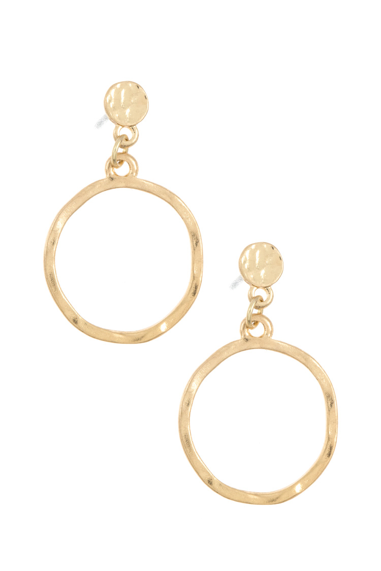 HAMMERED RING DANGLE EARRING