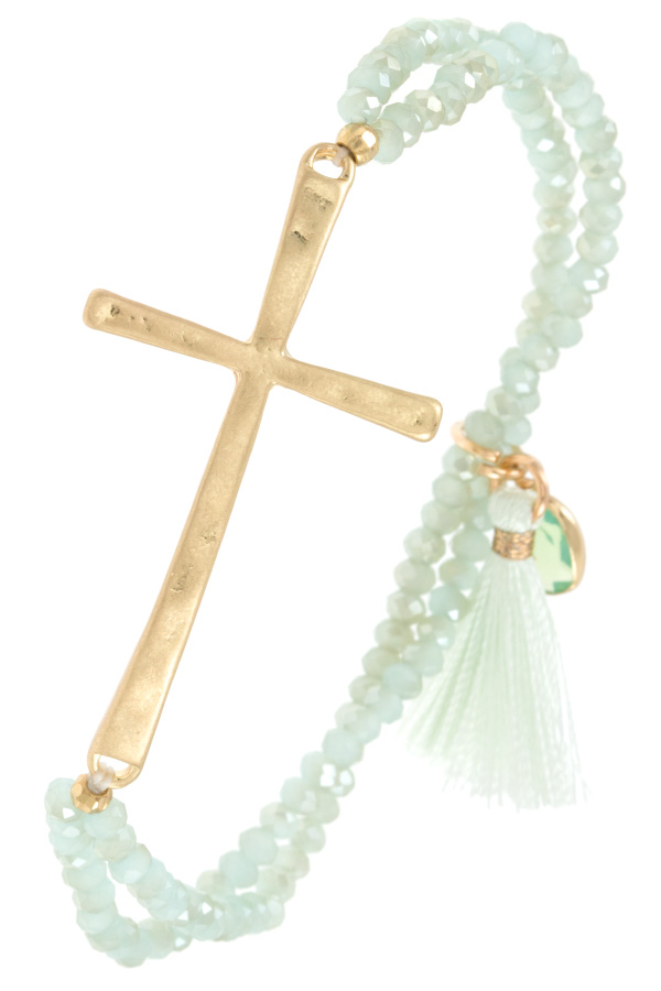 CURVED CROSS BEADED TASSEL BRACELET