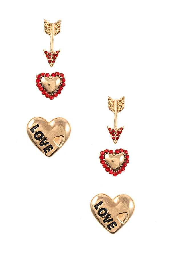 LOVE ETCHED HEART POST EARRING