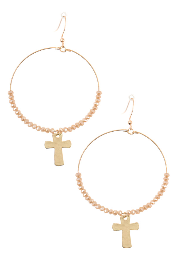 BEADED HOOP CROSS DROP DANGLE EARRING