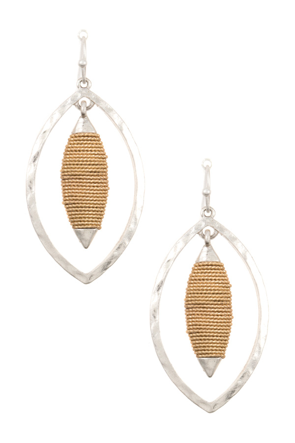 WRAPPED MARQUISE DOUBLE LINK DANGLE EARRING