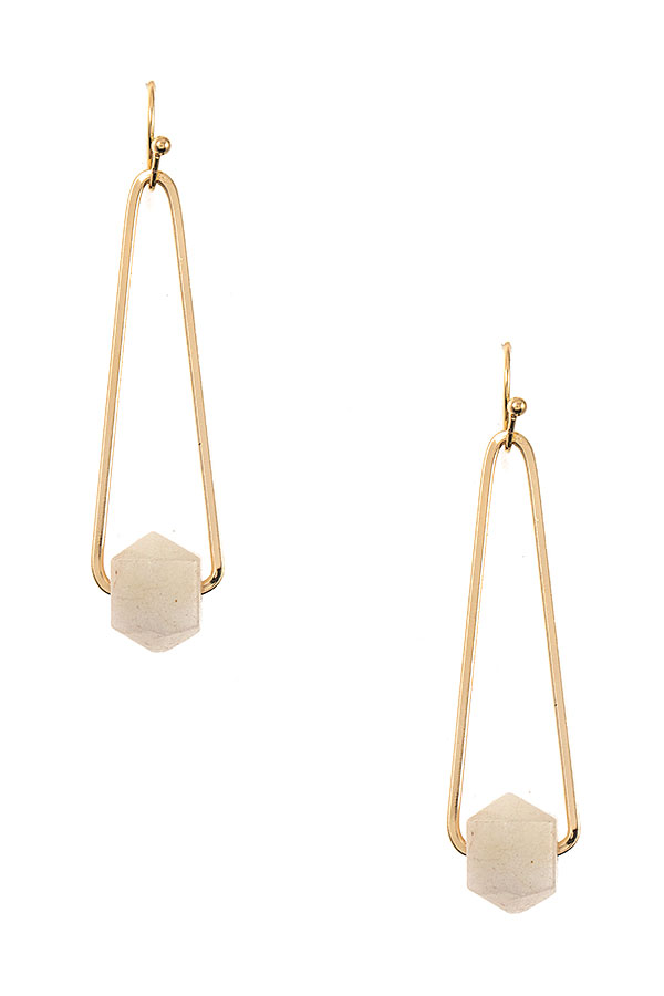 FACETED STONE DROP EARRING