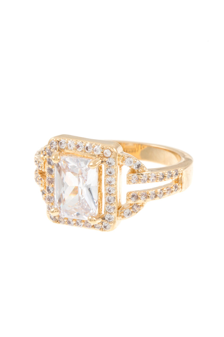 Rectangular Faceted Gem CZ Stone Accent Ring